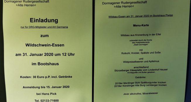 Wildschwein-Essen am 31. Januar 2020 um 12 Uhr im Bootshaus