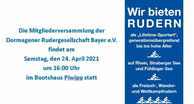 Die Mitgliederversammlung der DRG findet am 24. April 2021 um 16:00 Uhr statt