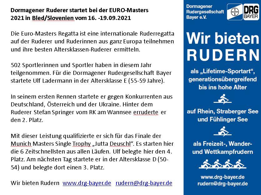 Dormagener Ruderer auf der EURO Masters Regatta 2021 in Bled/Slovenien